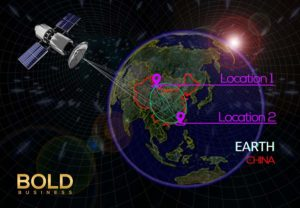 Graphic of quantum teleportation china satellite.