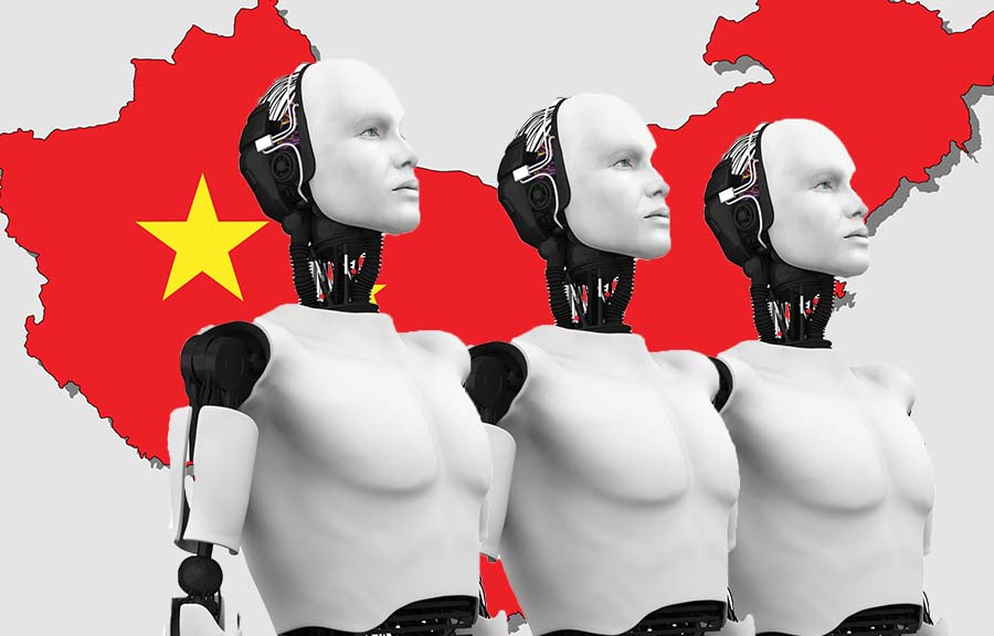Row of robots in front of China map.