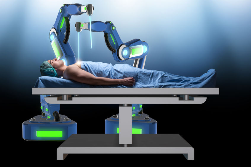 Surgery being performed by a robot.