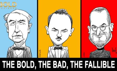 a caricature of Edison, Zanuck and Jobs, Titans of Business with their own stories on moving from failure to success