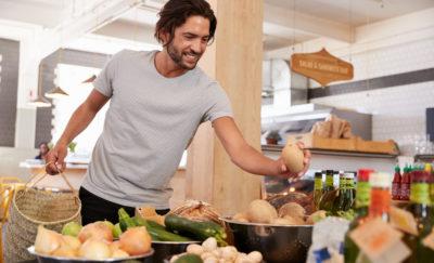 shopper buying organic food