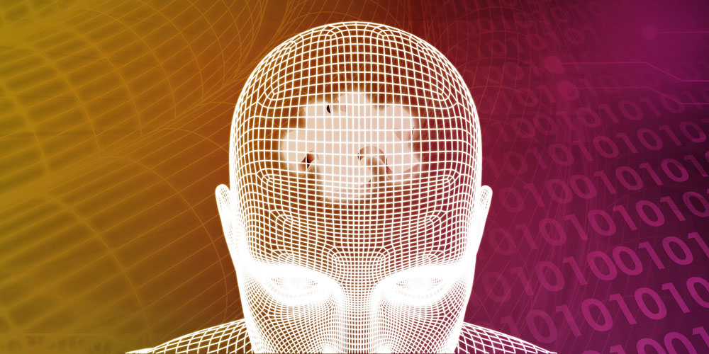 a computerized rendition or a graphic of a grid pattern of a human head with a puzzle piece representing problem solving visible inside even amid the discussion on biohacking
