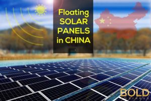 picture of solar panels on a lake with China map in the background.