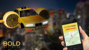 A taxi flying over the city, with a ride hailing app.