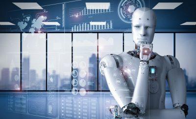 Robot reporter thinking.