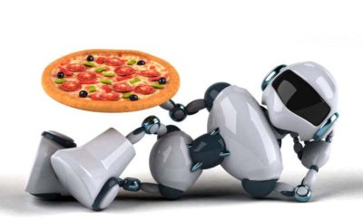 A robot holds a pizza.