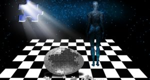Chess board, door, space, human, futuristic surreal graphic.