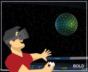 graphic of guy with VR goggles and scenario