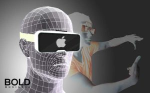 Futuristic human graph with Apple AR glasses