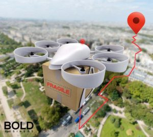 Drone delivering a package.