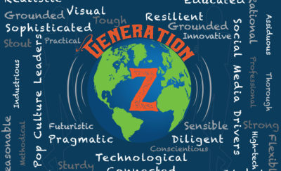 Globe and world cloud of Gen Z attributes