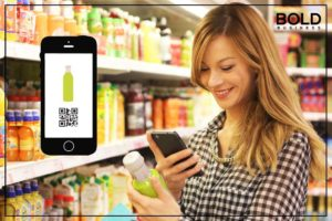 Woman checking label with phone.