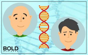 Bald man and guy with hair with DNA in middle.