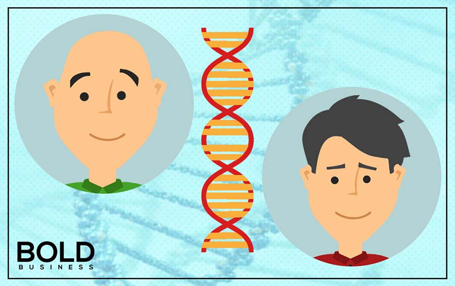 an image containing a cartoon of a bald man and a cartoon of a guy with hair with the two separated by a DNA strand in the middle as scientist discover a stem cell hair growth cure