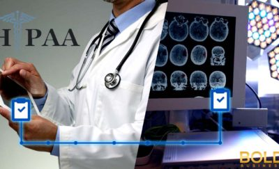 a photo of a doctor using a smart tablet beside a photo of brain scan images amid the question on how can technology reduce healthcare costs