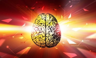 a photo of a brain illustration on surreal background while there is a need to advance mental health digital technology