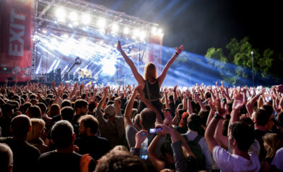 Music concert goers support artists