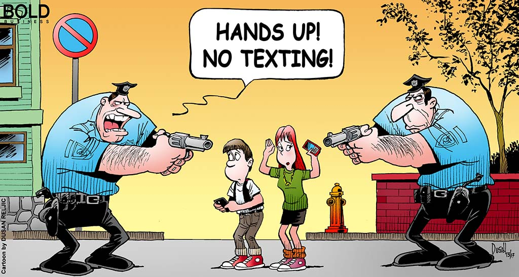 cops implementing the ban texting while walking law