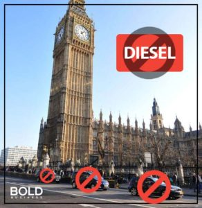 London and cars, with no diesel signs.