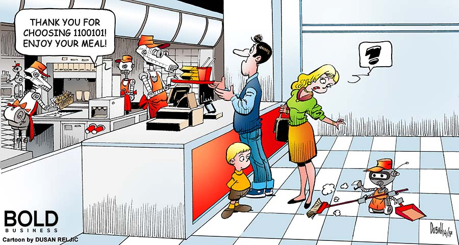 Family ordering food at a robot run fast food joint.