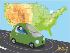 A smart car in front of a map of the U.S.