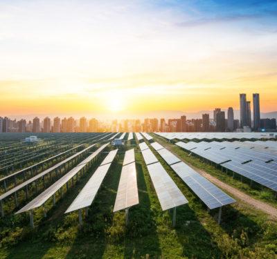 Solar Panels and City