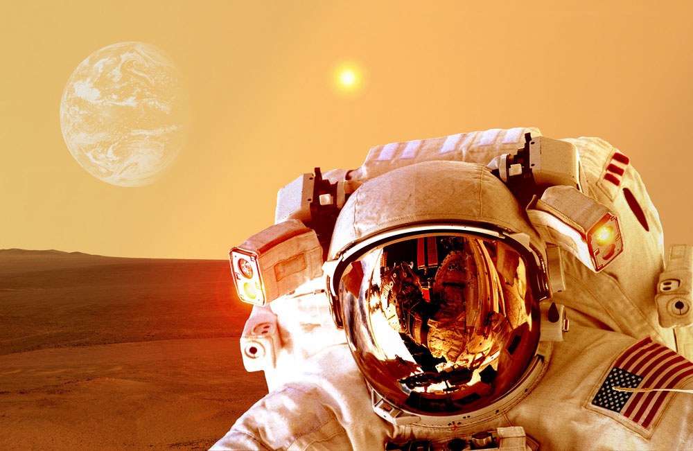 a photo of an Astronaut on Mars in relation to the topic of the pending SpaceX launch to Mars