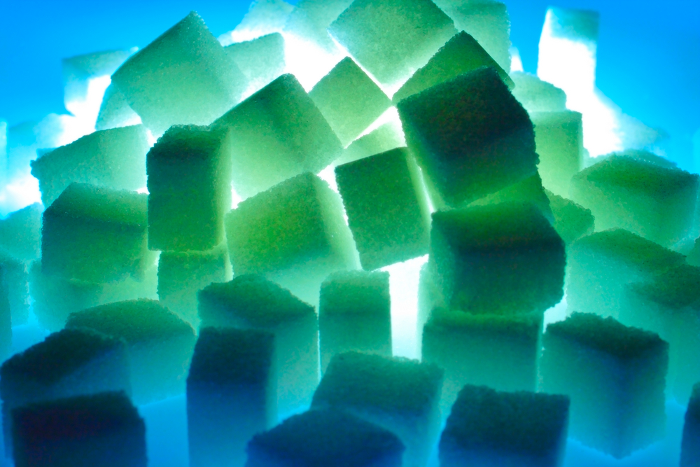 Sugar under blue light.