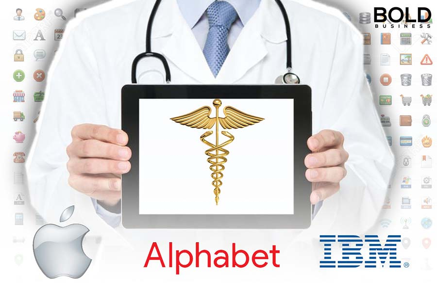 a white-coated physician holding a smart tablet with a caduceus symbol in the middle of the screen and the logo of companies Apple Alphabet and IBM in the space below the tablet amid tech companies getting into healthcare