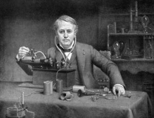 Thomas Edison with a shortwave radio.