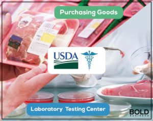 USDA logo and meat being tested.