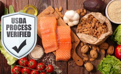 salmon and healthy food with USDA symbol