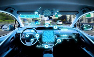 Interior view of a driverless car, a smart car test initiative in virginia