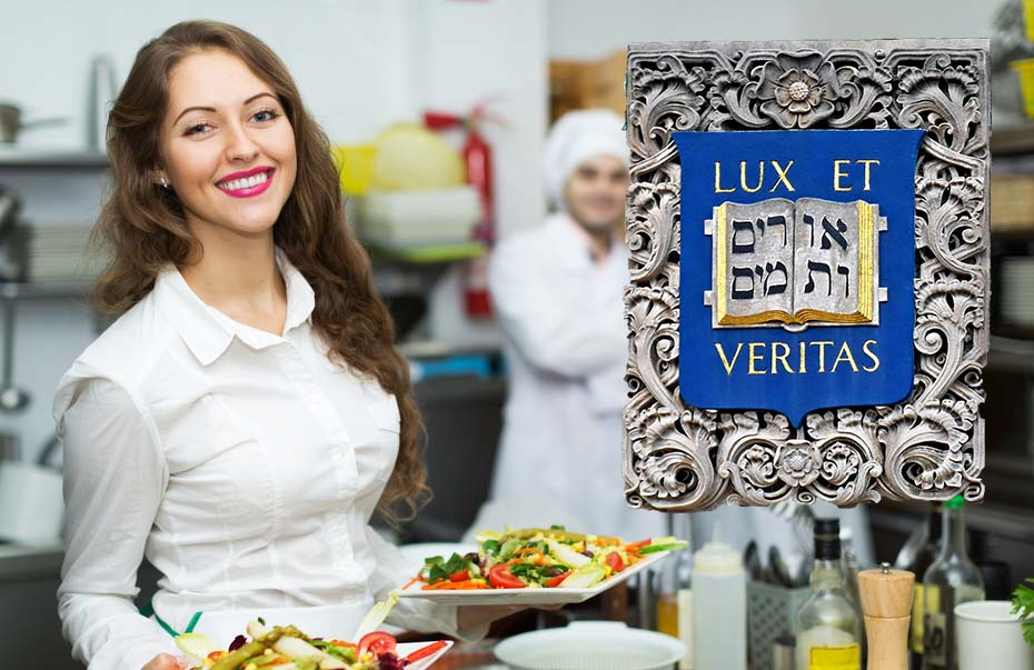 a photo of a waitress holding two plates full of salads next to the Yale University logo and motto, amid the rise of Yale entrepreneurship