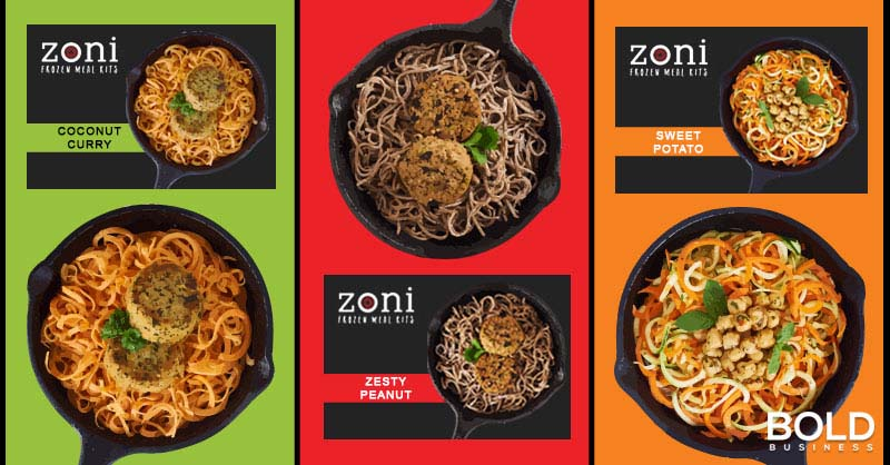 a photo of meal choices from Zoni—a startup brought about by Yale entrepreneurship