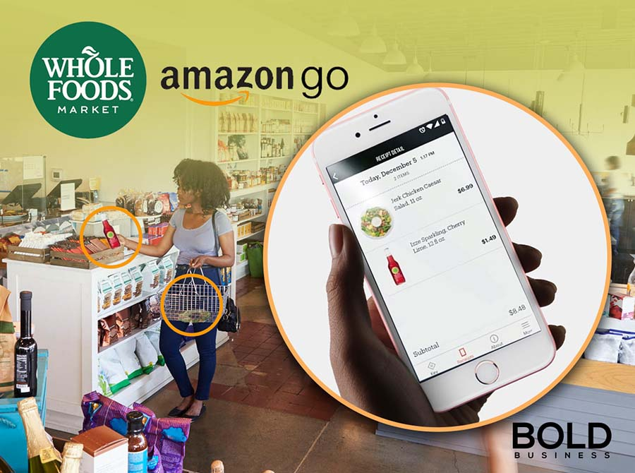 a photo of a woman at an Amazon Go store picking up items on the shelves beside an image of a hand holding a phone with its screen open to the Amazon Go store amid the potential reality of Whole Foods using the Amazon cashierless store technology