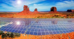 solar panels in Monument Valley.