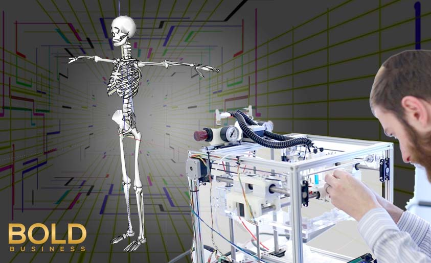 an illustration showing a doctor or scientist operating a machine that's linked to a standing human skeleton with its arms stretched sideways amid the talks about 3D printed bones