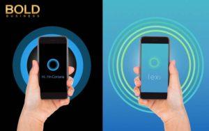 Two phones with Alexa Cortana