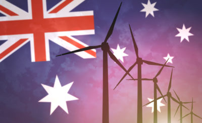 wind turbines on a background of the Australian flag