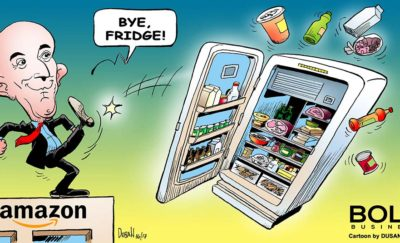 a cartoon of Jeff Bezos kicking a fridge off a roof amid Amazon acquiring a Sterilization Food Preservation Technology