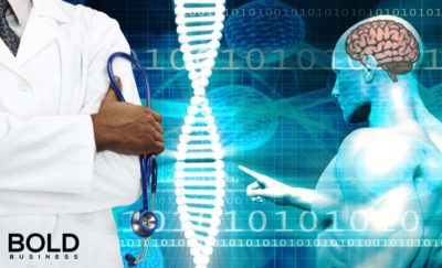 a photo of a DNA strand, brain diagram and doctor with his arms crossed and with one hand holding a stethoscope, depicting the idea that a big discovery in relation to glioblastoma gene mutation has been found