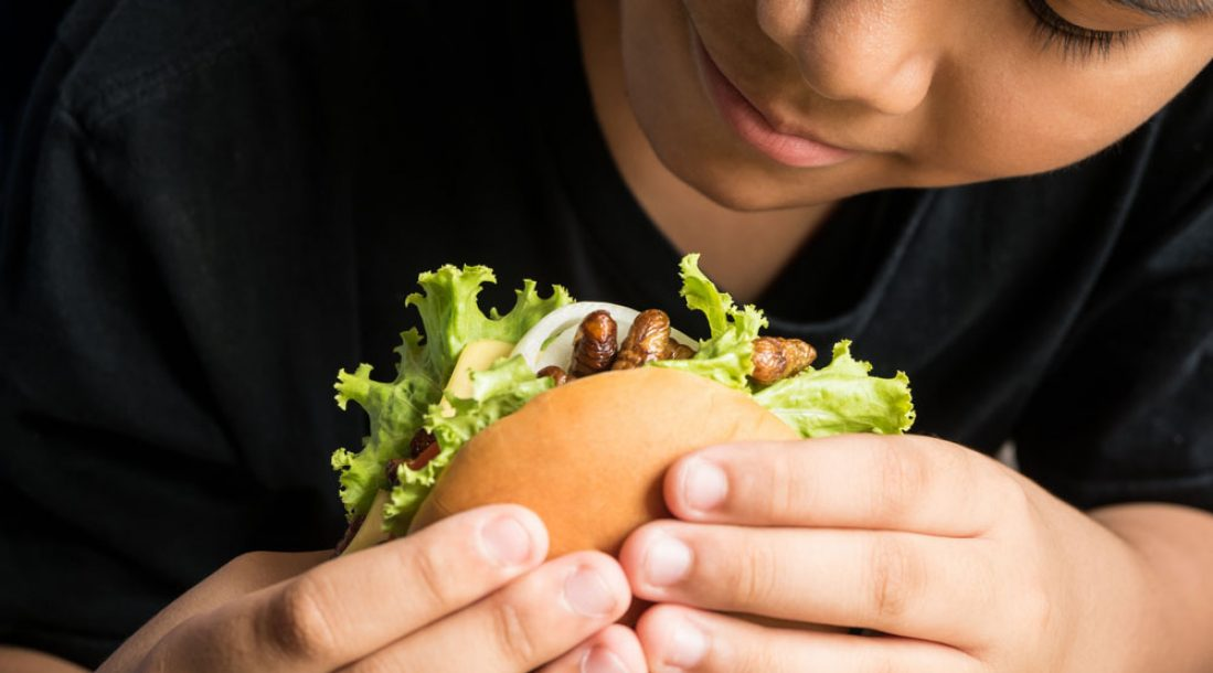 a close-up photo of a person eating one of the insect burgers in Switzerland