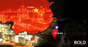 Map of China and Taiwan and power plant.