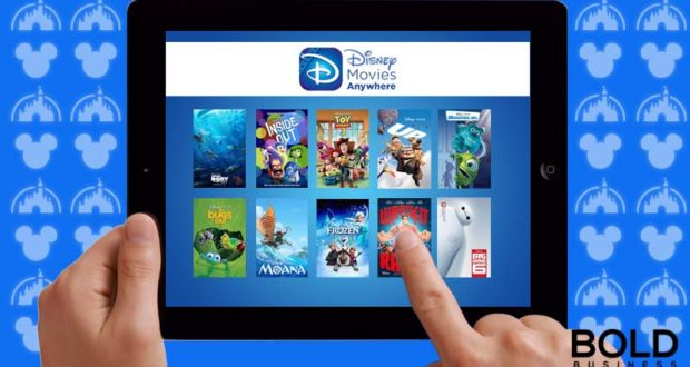 Tablet with Disney streaming video on it.