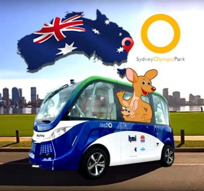 Driveless bus with Australian map and kangaroo