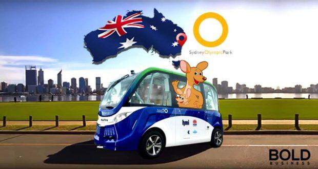 Driveless bus with Australian map and kangaroo