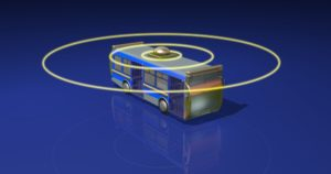 Bus with radar circles.