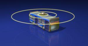 Bus with radar circles.