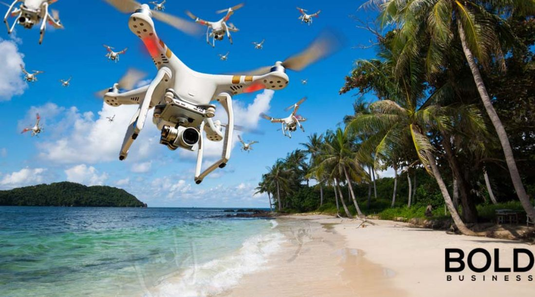 Drone swarm over the beach